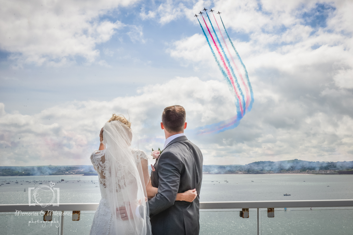 red arrows wedding photo