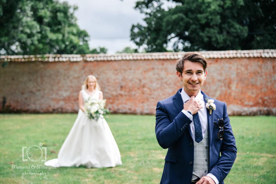 first look wedding photo exeter devon